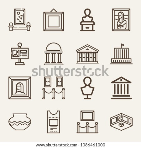 Set of 16 museum outline icons such as museum, monument, painting, signal, vase, portrait, exhibition, hall, ticket, sculpture