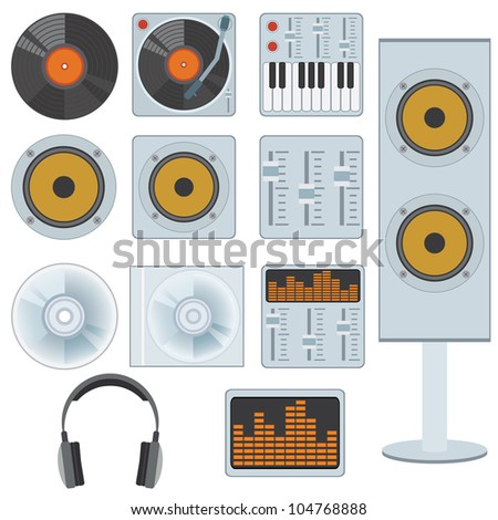 Set of music devices and equipment on the white background.