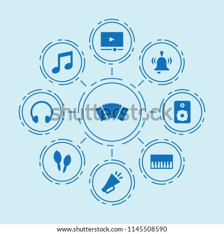 Set of 9 music filled icons such as music, piano, speaker, headphones, maracas, accordion, video player, megaphone