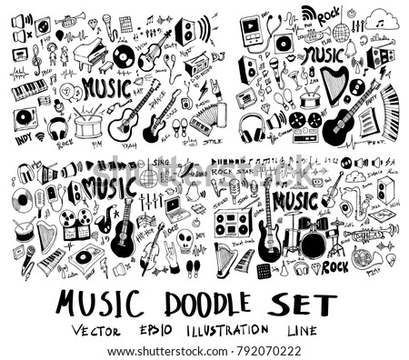 Set of Music Hand drawn doodle Sketch line vector scribble