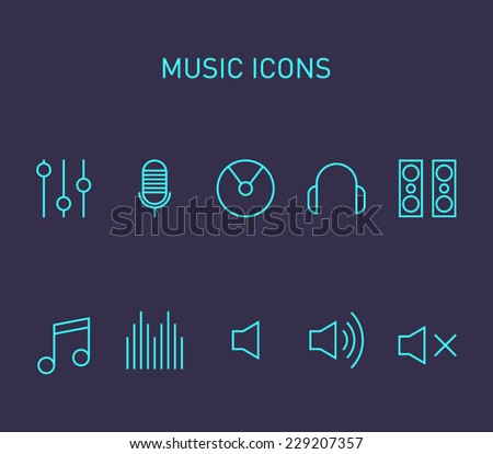 Set of music icons for smartphones, tablets, devices, user interface, applications. Equalizer, cd,  note, volume, headphones, microphone, speakers. Clean and modern style design