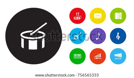 Set Of 10 Music Icons Set.Collection Of Octave Keyboard, Knob, Percussion And Other Elements.