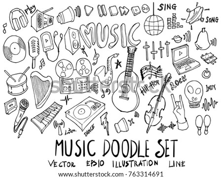 Set of Music illustration Hand drawn doodle Sketch line vector
