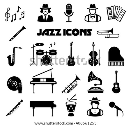 Set of music jazz black icons isolated on white with instrument, saxophone and guitar. Vector illustration