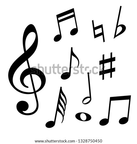 Set of music notes. Black silhouette isolated on white background. Vector illustration