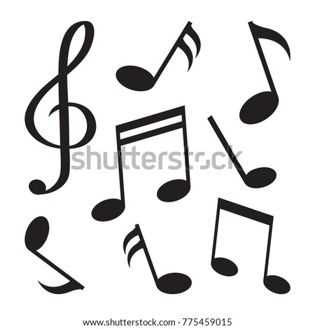 Set of music notes. Black silhouette, isolated on white background. Vector illustration