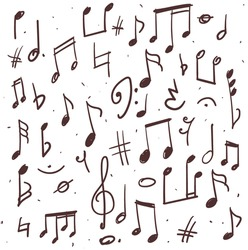 Set of music notes, hand drawn illustration