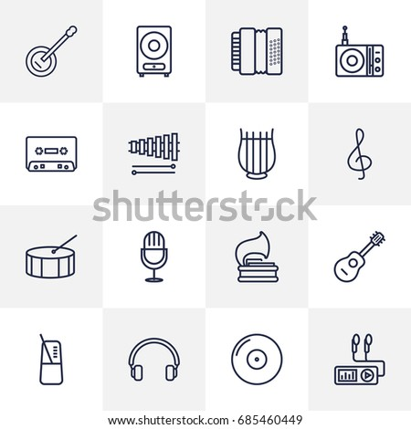 Set Of 16 Music Outline Icons Set.Collection Of Acoustic, Pace, Guitar And Other Elements.