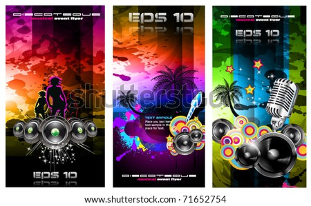 Set of 3 Music Party Disco Flyer with Exceptional Glow of lights