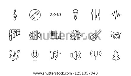 5cf01e12d Set of Music Related Vector Line Icons. Contains such Icons as Pan Flute,  Piano