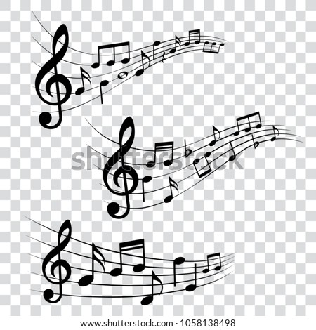 Set of musical design elements, music notes, isolated, vector illustration.