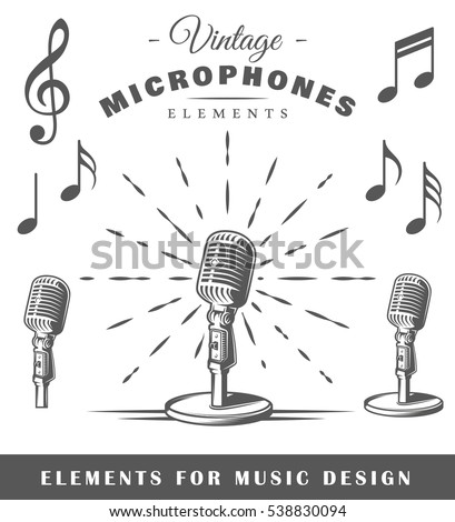 Set of musical elements isolated on white background. Vintage microphone. Notes. Vector illustration.