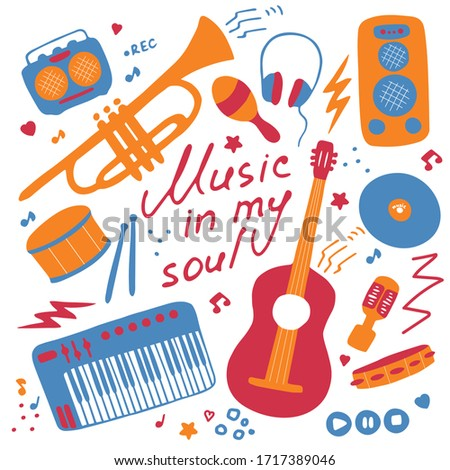 Set of musical emblem. Flat illustrations for digital and print. Musical icons set. Hand-written inscription Music in my soul. Vector Stock foto ©