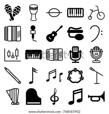 Set of 25 musical filled and outline icons such as piano toy, trumpet, music note, microphone, pin microphone, treble clef, piano, guitar, tambourine, note, maraca