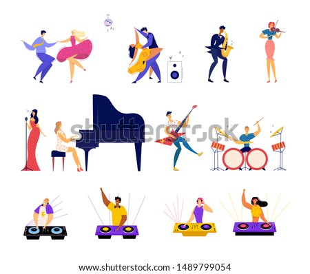 Set of Musical Hobbies and Entertainment. Happy Male and female Characters Dancing on Party, Classical and Rock Music Band Performing, Dj Mixing Beats in Bight Club Cartoon Flat Vector Illustration