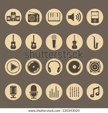 Set of musical icons, vector eps10 illustration