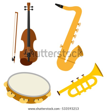 Set of musical instruments, illustration musical instruments, classical violin icon, illustration a classical violin, saxophone vector, symbol saxophone, tambourine, tambourine logo, trumpet.