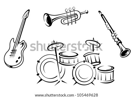 Set of musical instruments in retro style isolated on white background, such logo. Jpeg version also available in gallery