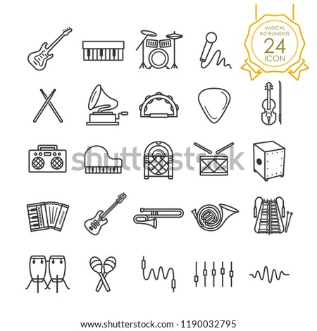 Set of musical instruments line icon on white background, Vector illustration