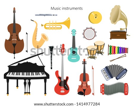 Set of musical instruments on the white background. Vector illustration.