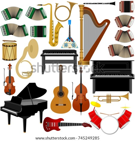 Set of musical instruments. The illustration on a white background.