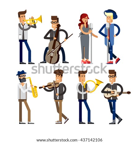set of musicians people  flat