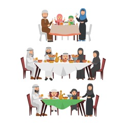 Set of Muslim Family Enjoying Iftar, Tradition Blessing Ramadhan Kareem, Dinner Together in Evening During Ramadhan