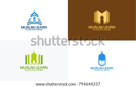 Set of Muslim Learn logo designs concept, Muslim Education logo template vector