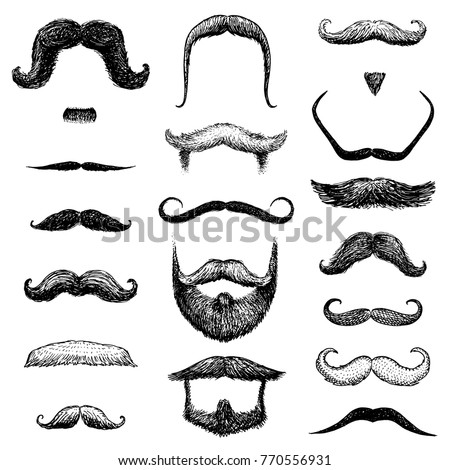 set of mustache and funny beard ...