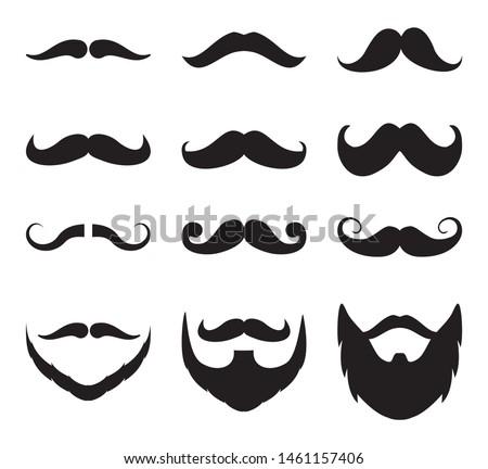 Set of mustache.Men beard collection ストックフォト ©