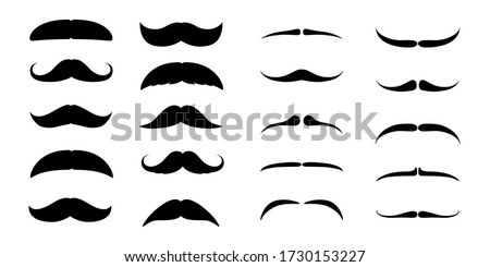 Set of Mustaches. Black silhouette of adult man moustaches. Symbol of Fathers day. Vector illustration isolated on white Stock foto ©