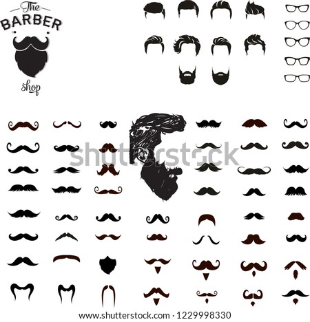 Set of mustaches, set of glasses,set of hair cut collection,beard lovers,vector illustration design.