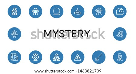 Set of mystery icons such as Witch, Ufo, Crystal ball, Stonehenge, Paganism, Freemasonry, Magic wand, Magician, Surprised, Wizard , mystery