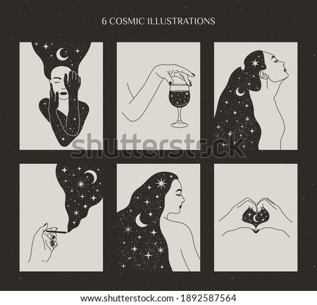 Set of Mystical Womens and Moon and Stars, Female Hands with a Glass of Wine and cigarette, Hand Heart Shape in Boho Style. Vector Illustrations for Wall Art and t-shirts Print, tattoo.