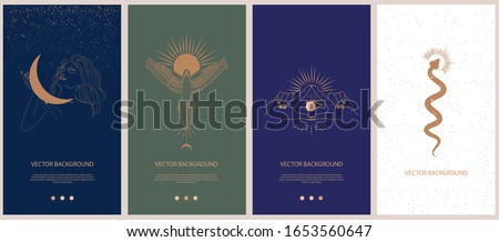 Set of mythology and mystical illustrations for Mobile App, Landing page, Web design in hand drawn style. Mythical creature, esoteric and boho minimalistic objects one line style. Vector illustration