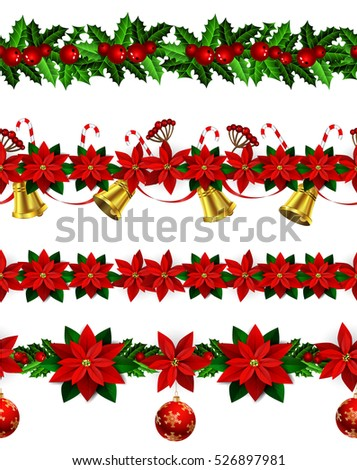 Set of n Seamless Christmas borders