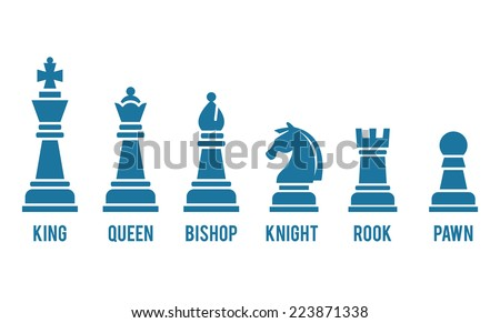 set of named chess piece vector