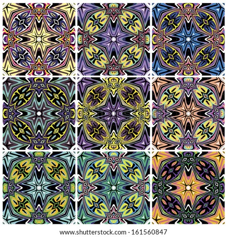 Set Of Native American Vector Patterns With Spiritual Symbols In