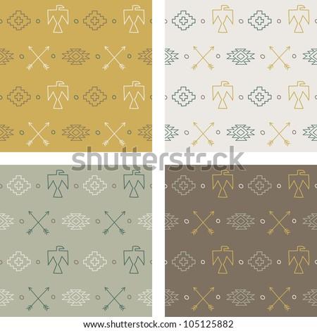 Set of native americans patterns