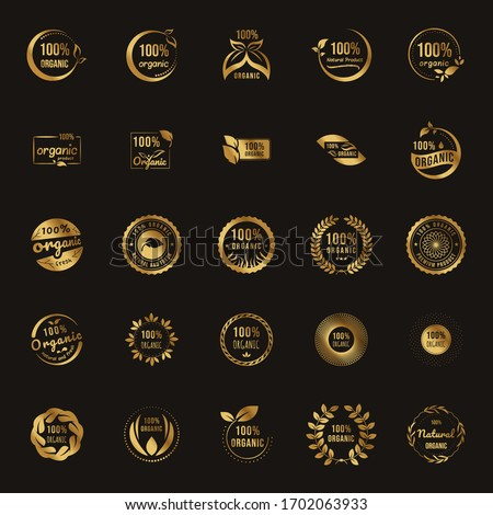Set of 100% natural and organic gold logo template vector health badge design. Collection labels and elements, for food and drink, restaurants and organic products. vector illustration.