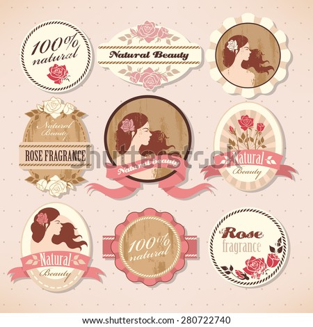 Set of natural beauty labels with roses