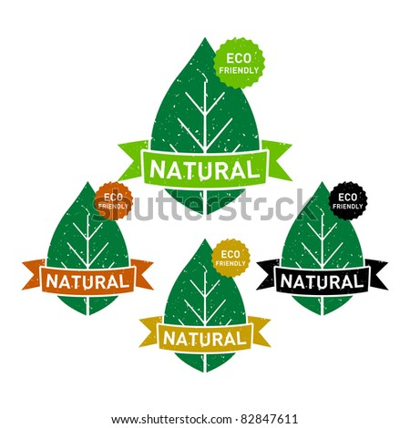 set of natural eco friendly grunge rubber stamps - stock vector