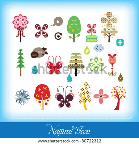 set of natural elements (can use for bookmark, sticker & website)