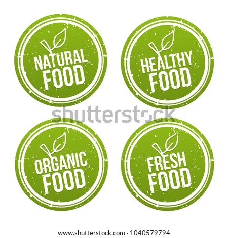 Set of natural Food Badges. Healthy, Organic, Fresh Food. Vector hand drawn Signs. Can be used for packaging Design.