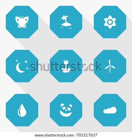 set of 9 natural icons set