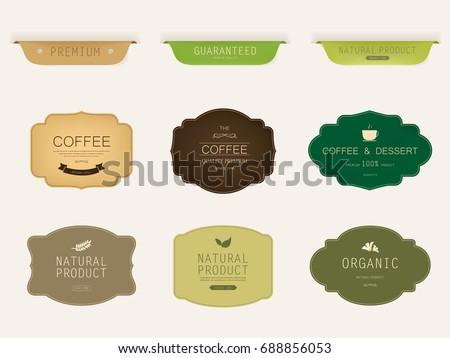 set of natural label and organic label green color. vintage labels and badges design. #688856053
