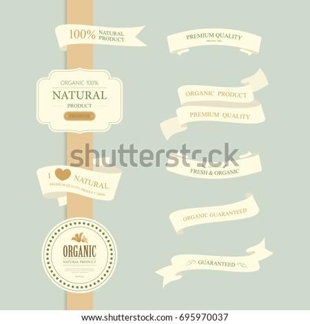 set of natural label and organic label. vintage labels and badges design.