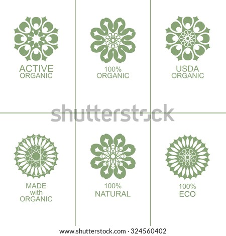 Set of natural organic eco badges and green labels. Vector illustration. Made with organic. Active organic