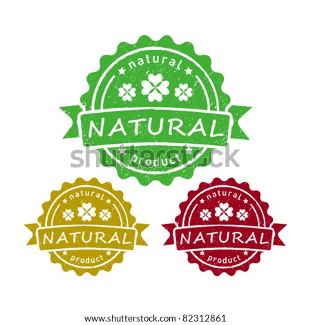 set of natural product grunge rubber stamps
