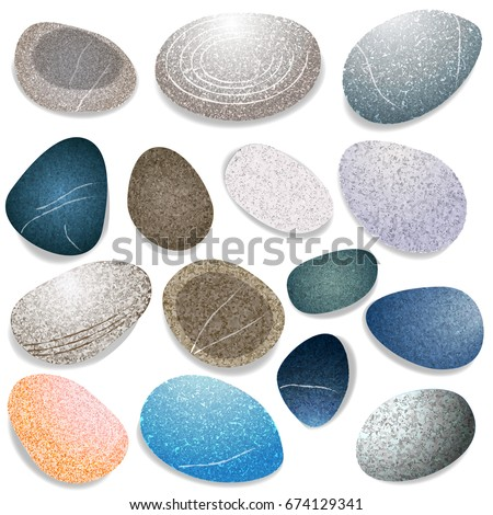 set of natural sea stones
